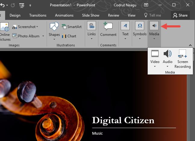 PowerPoint, audio, insert