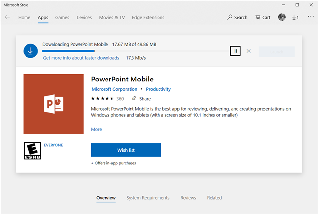 Waiting for Microsoft Store to download and install PowerPoint Mobile