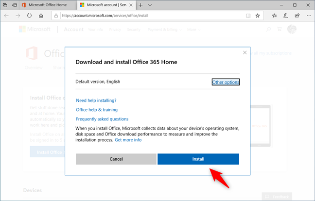 Choosing the version and language for Office 365
