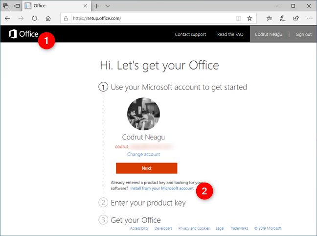 Install from your Microsoft account