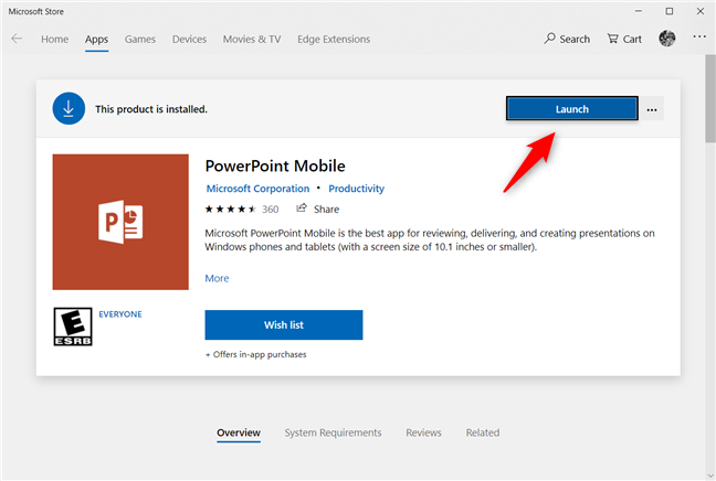 Launch PowerPoint Mobile