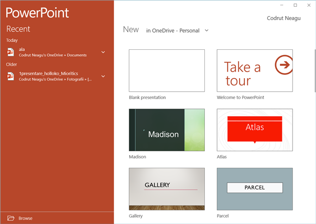 The PowerPoint Mobile app for Windows 10