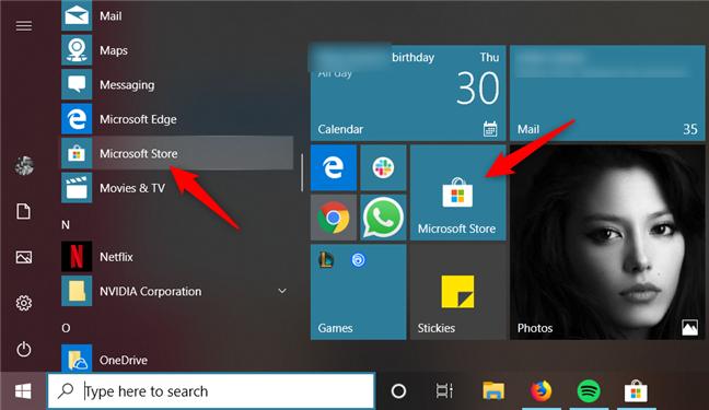 Starting Microsoft Store