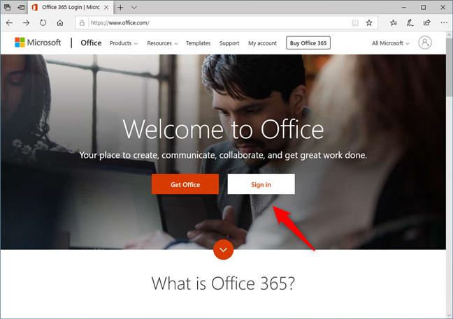 The Office.com website