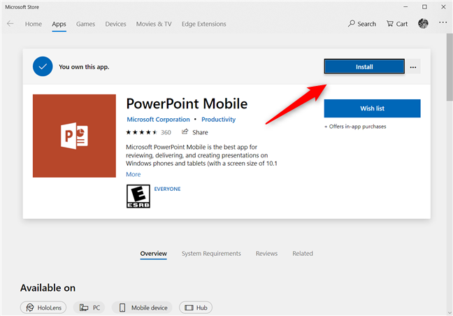Installing PowerPoint Mobile from the Microsoft Store