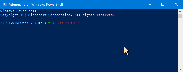 The Get-AppxPackage command in PowerShell