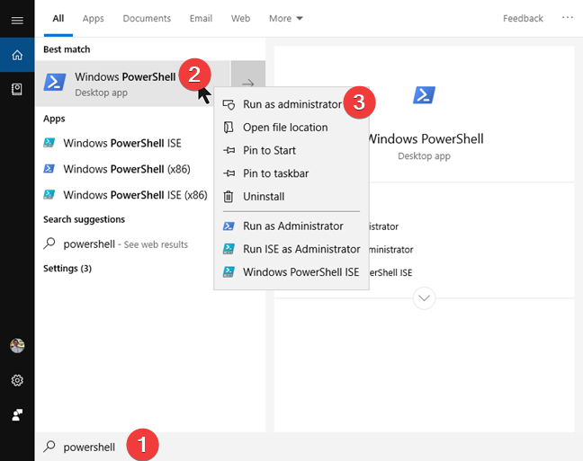 Search and start PowerShell în Windows 10