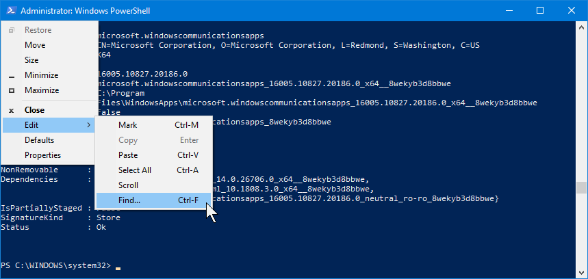 The Find command in PowerShell