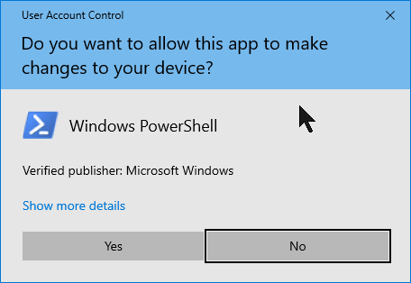 User Account Control notification for running PowerShell as admin