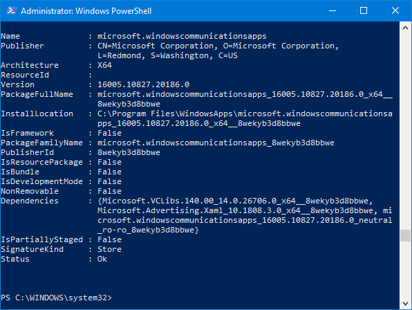 The output of the Get-AppxPackage command in PowerShell