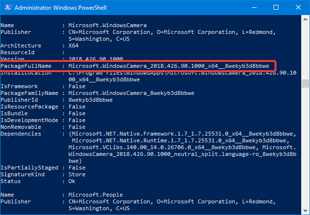 The PackageFullName of a Windows 10 app