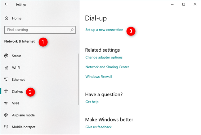 Set up a new connection in the Dial-up settings section
