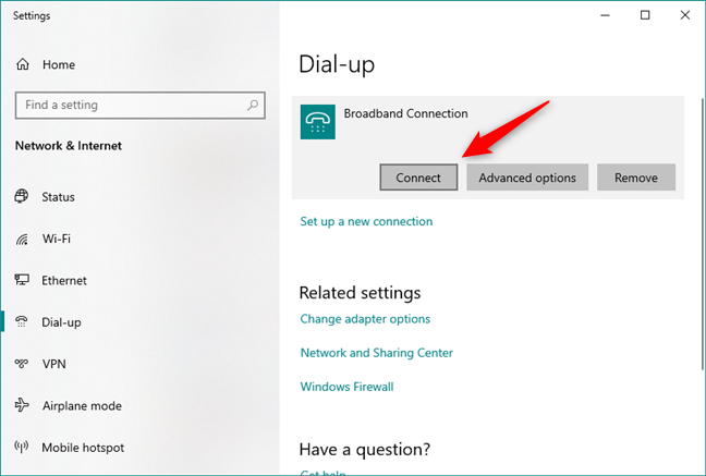 Start the PPPoE connection in Windows 10