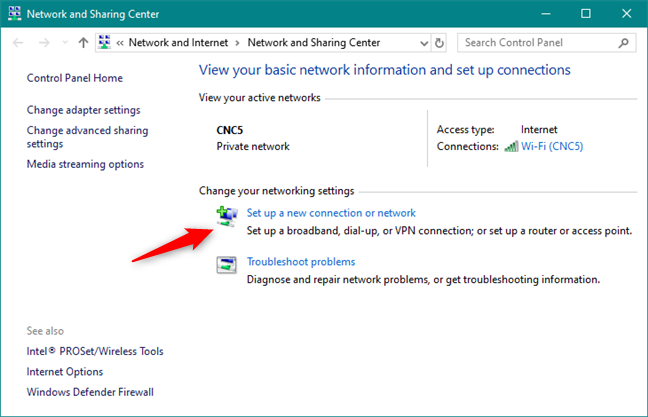 Set up a new connection or network in the Control Panel