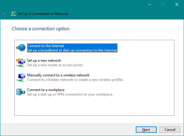 The Connect to the Internet option