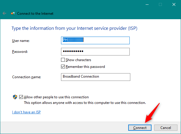 Initiating the PPPoE connection