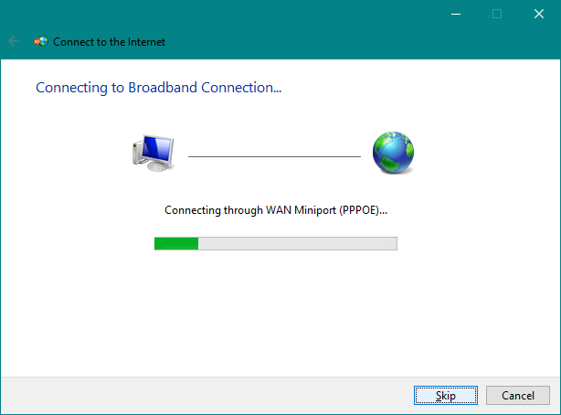 Waiting for the PPPoE connection to be established