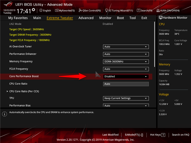 AMD Ryzen 7 3700X: Precision Boost (Core Performance Boost) disabled