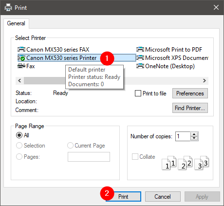 Selecting the printer to use for printing the image on multiple pages