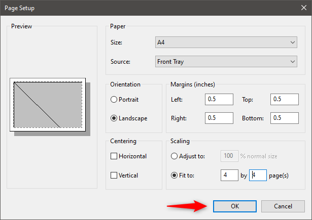Saving the image print scaling settings