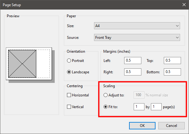 The Scaling section from Paint's Page Setup