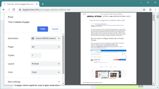 The Print dialog in Google Chrome