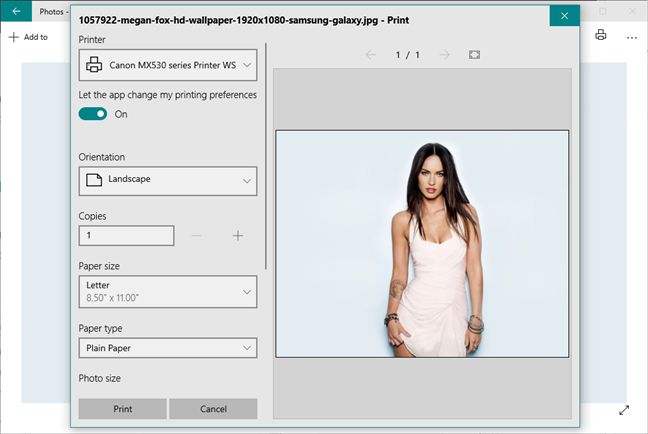 The Print dialog in the Photos app from Windows 10