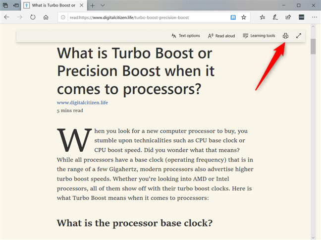 Print the page from Microsoft Edge's Reading View