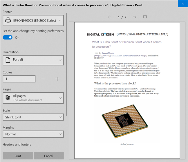 Digital Citizen offers clutter-free printing by default
