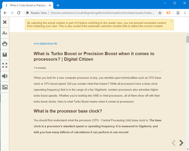 Print the webpage from Google Chrome's Reader View