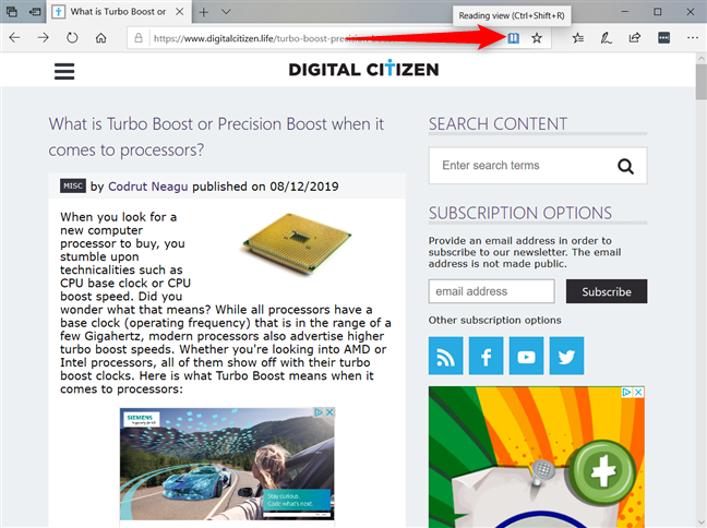 Enable the Reading View in Microsoft Edge