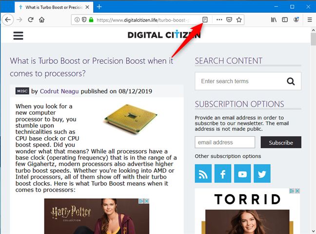 Toggle the reader view in Mozilla Firefox