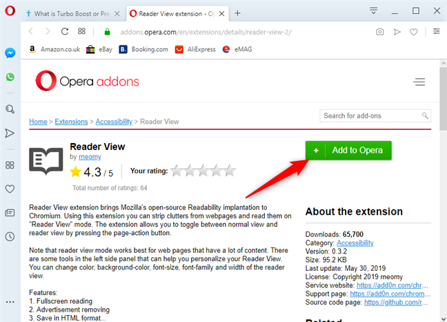 Install the Reader View in Opera