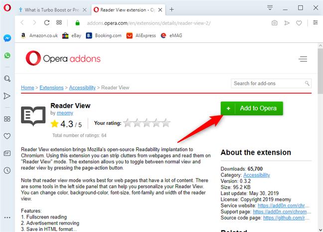 Instalar la vista del lector en Opera