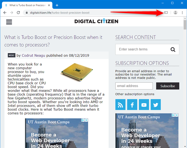 Click the Reader View button in Google Chrome
