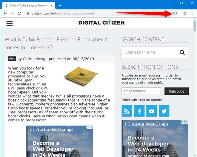Haga clic en el botón Vista de lector en Google Chrome
