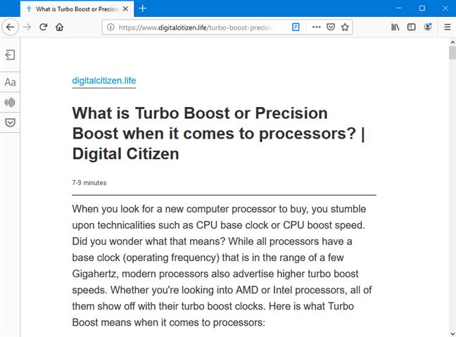 Imprima la página desde la vista de lector de Mozilla Firefox