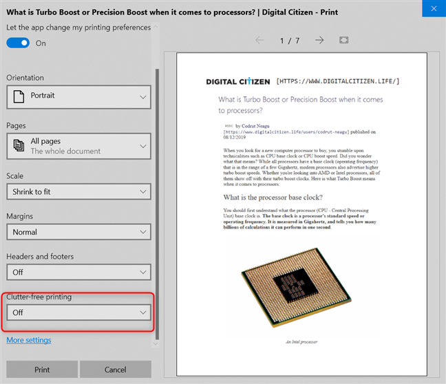 Look for Clutter-free printing in Microsoft Edge