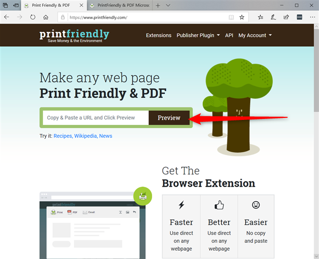 Paste the URL of the page into printfriendly.com