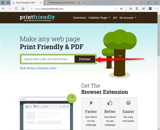 Pegue la URL de la página en printfriendly.com