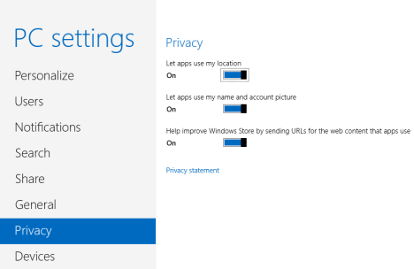 Windows 8, privacy, settings, location