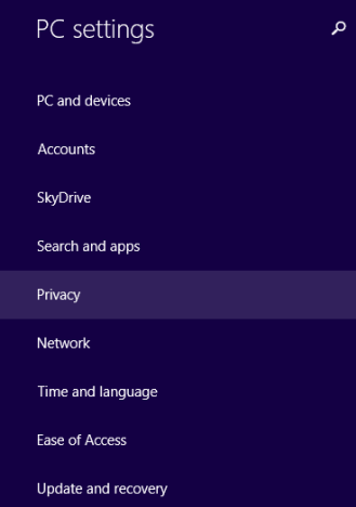 Windows 8.1, privacy, settings, location