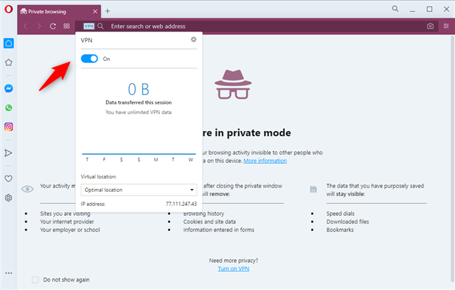 VPN turned on in Opera Private browsing