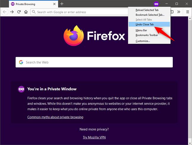 Undo Close Tab in Firefox Private Browsing