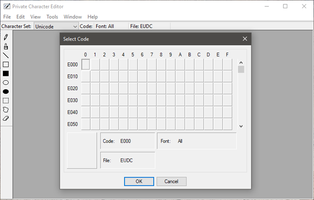 Private Character Editor, Windows