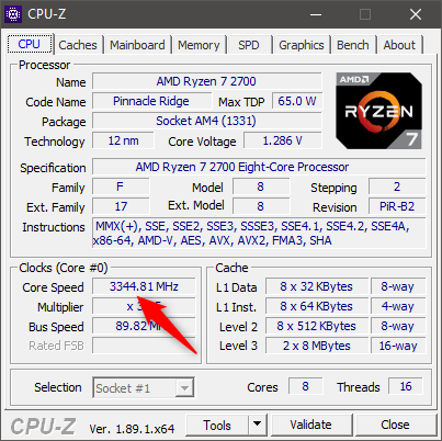 Monitoring an AMD Ryzen 7 2700 CPU with CPU-Z