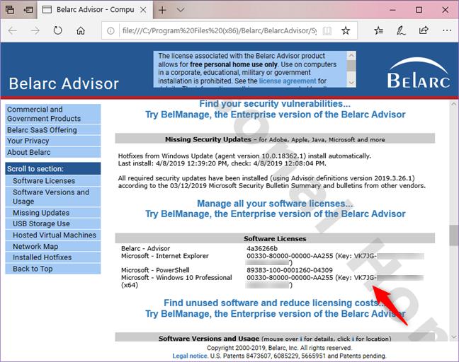 Belarc Advisor report, including Windows serial key