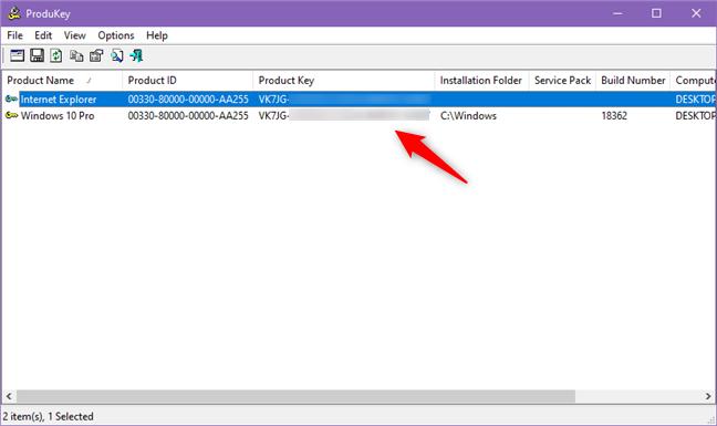 ProduKey shows the Windows product key
