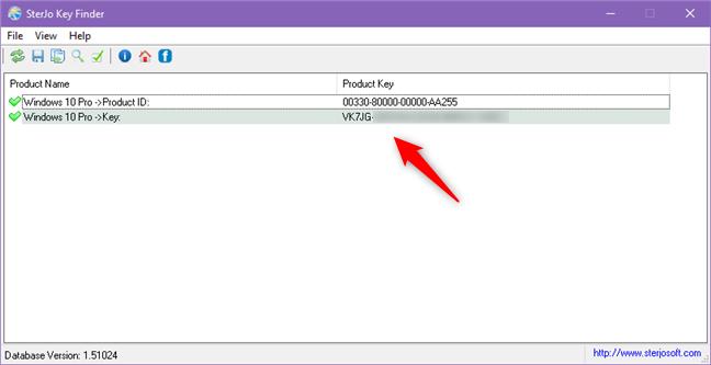 SterJo Key Finder displaying the serial key of Windows