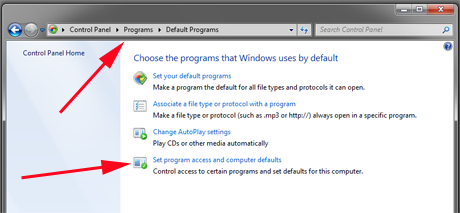 Set Program Access and Computer Defaults, Windows 7